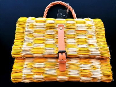 Yellow Reed Basket with buckle and leather strap