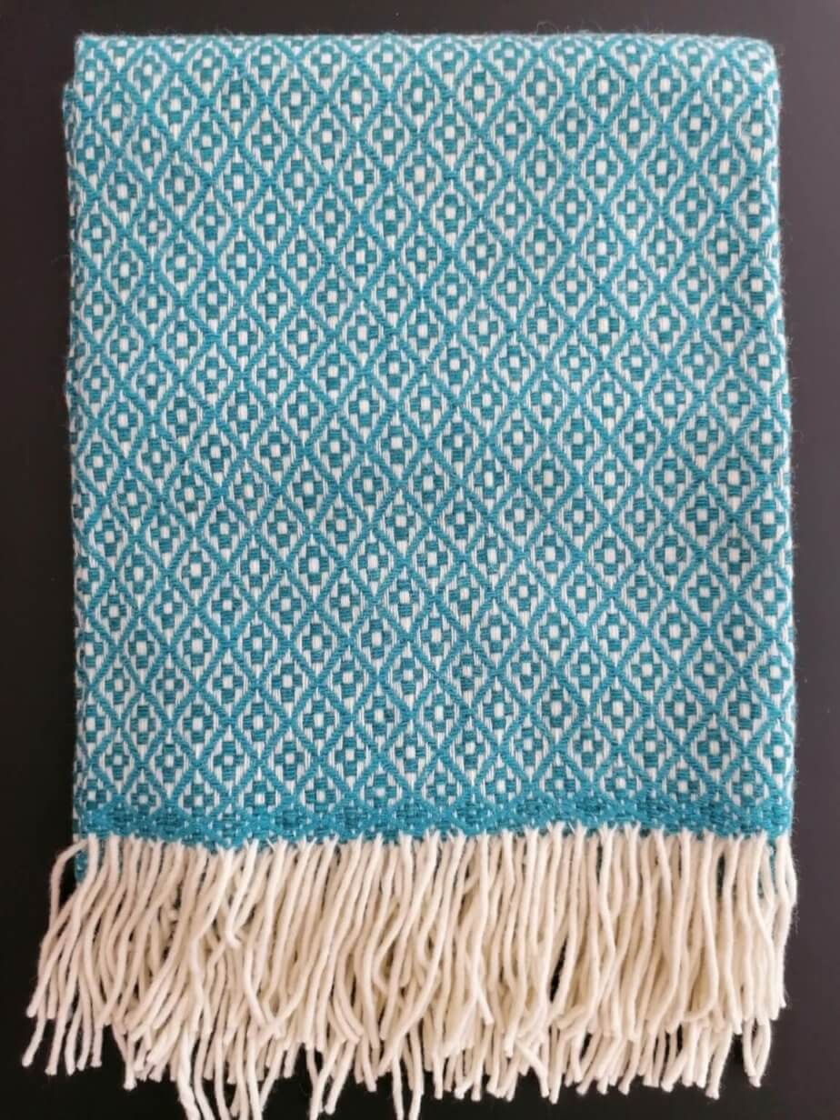 Pure wool blanket - turquoise