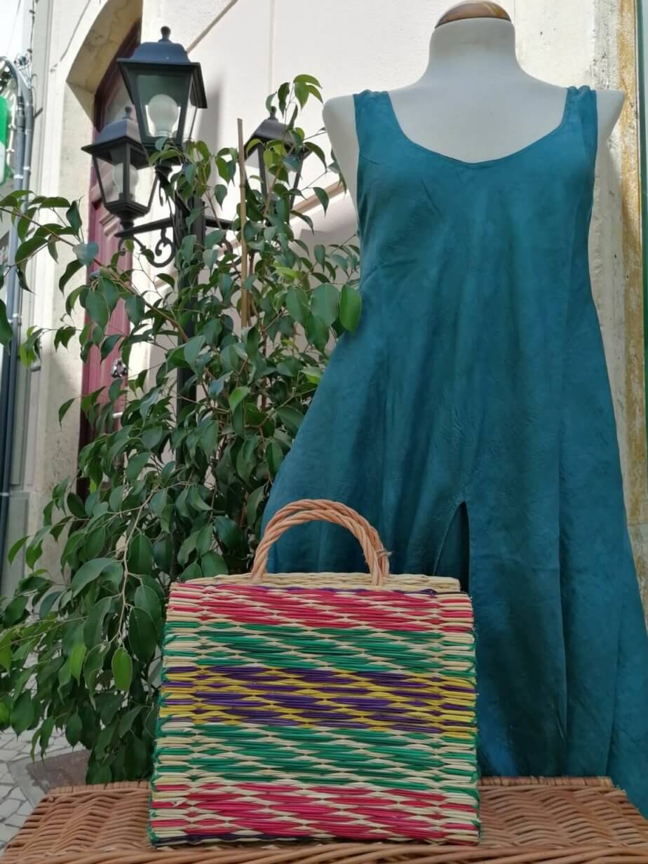 Reed Basket (Color and striped pattern) with mannequin