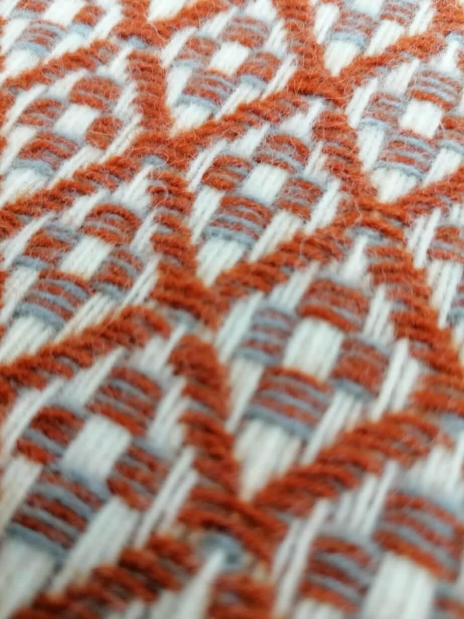 Pure wool blanket - brown flower pattern