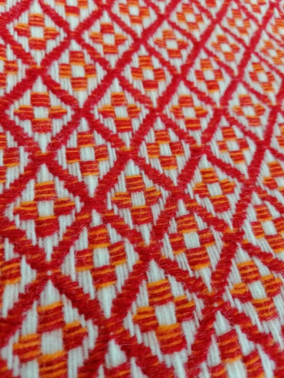 Pure wool blanket - red flower pattern