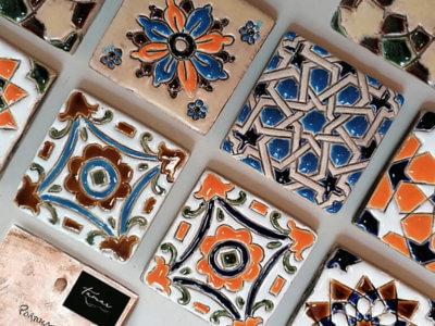 Azulejos pintados à mão - pequenos 10x10cm- Loja Tamar