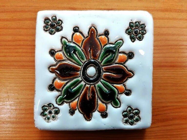 Azulejo pintado à mão - floral - n1 - pequeno