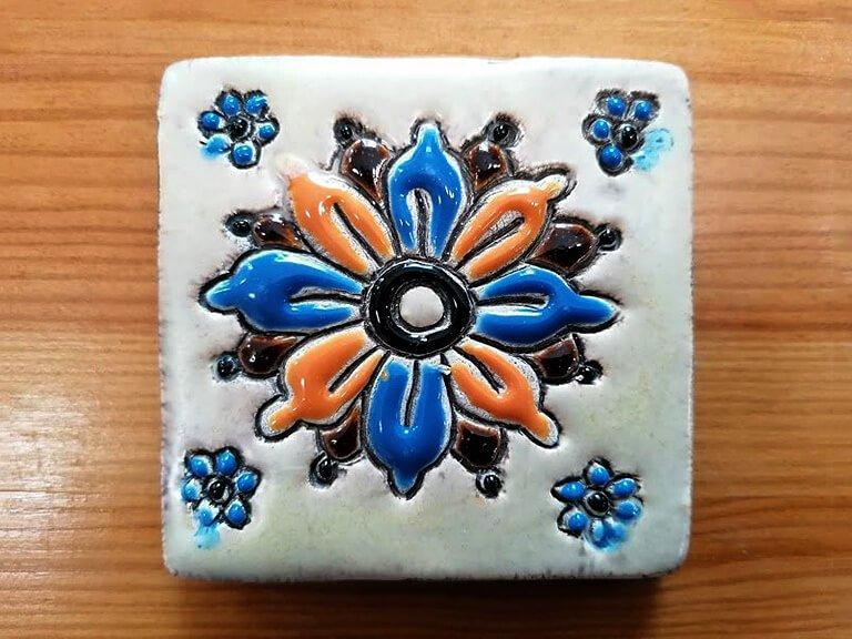 Azulejo pintado à mão - floral - n1B - pequeno