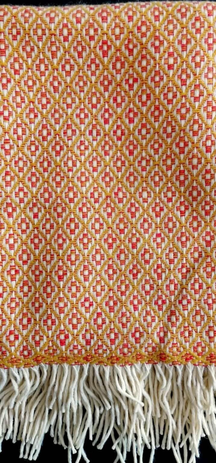Manta pura lã - Amarelo Vermelho