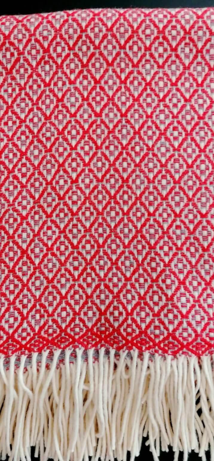 Manta pura lã - Vermelho Cinza