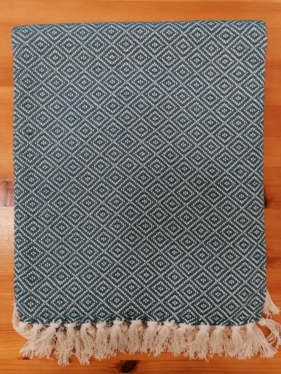 Mantas Algodão - Diamante Azul-cinza