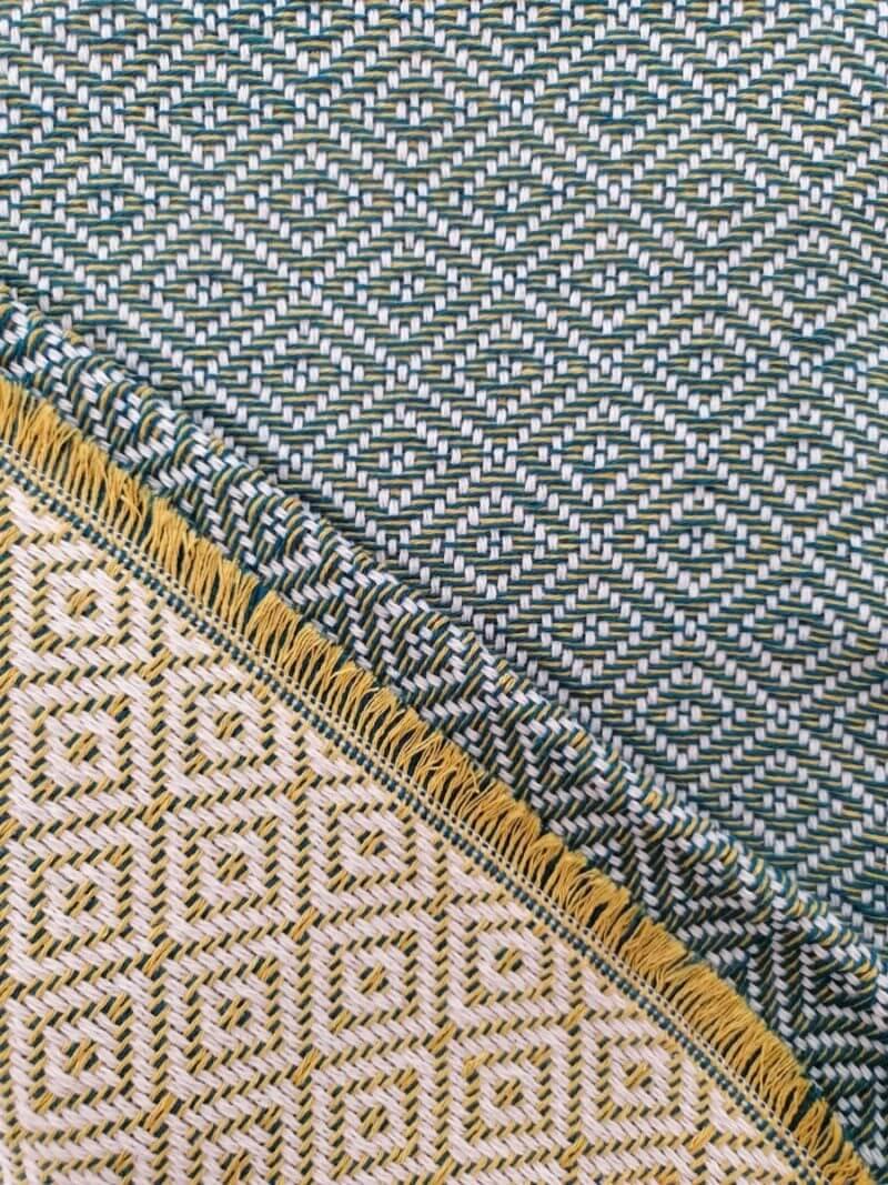 Mantas Algodão - Diamante Verde-Amarelo - detalhe