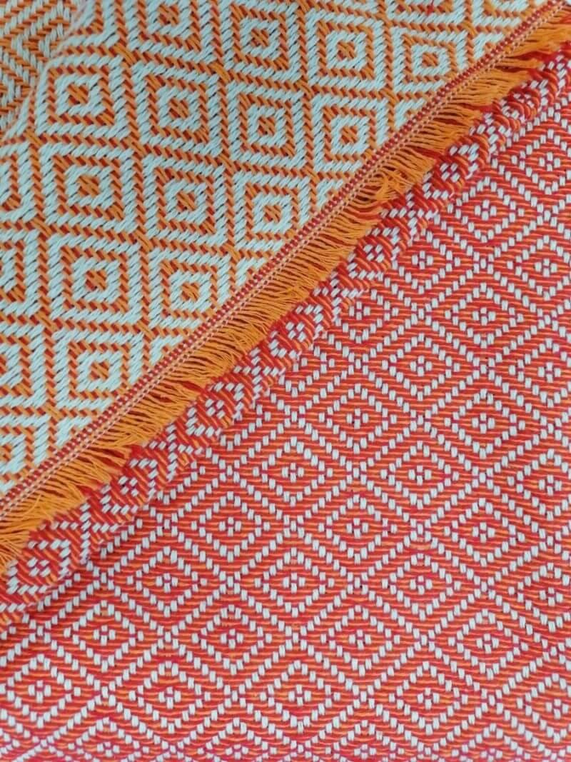 Mantas Algodão - diamante vermelho-laranja